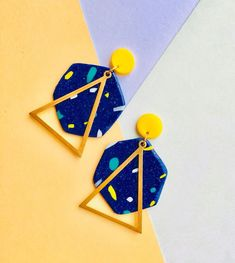 Statement Geometric Earrings. Handmade. Unique. Hexagon. Triangle. Brass. Blue. Green. Yellow. Gold. Funky. 80s. Memphis. Retro. Quirky.
