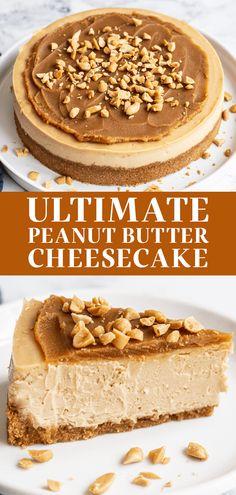 Peanut Butter Dessert Recipes, Peanut Butter Cheesecake, Best Dessert Recipes, Fun Desserts, Delicious Desserts, Homemade Peanut Butter, Peanutbutter Cheesecake Recipes, Peanut Butter Lasagna, Peanut Butter Cream Pie