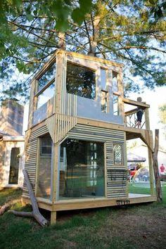 Two Floor Kids Tree House Design, Inspiring DIY Backyard Ideas Backyard Plan, Backyard For Kids, Backyard Landscaping, Backyard Ideas, Backyard Office, Backyard Projects, Landscaping Ideas, Build A Playhouse, Playhouse Outdoor