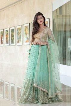 Sea green net heavy sequence work wedding lehenga choli - Fabric :Net lehenga with sequence work( 3 meter flair )Matti blouse with sequence work ( unstitch )Net dupatta with sequence workSea green net heavy sequence work wedding lehenga choli - Fabric : N Indian Bridal Outfits, Indian Dresses, Indian Clothes, Wedding Outfits, Wedding Wear, Summer Wedding, Wedding Dress, Lehnga Dress, Lehenga Choli