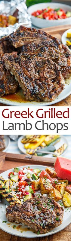 Greek Style Grilled Lamb Chops Recipe : Lamb chops in a Greek style marinade with olive oil, lemon, garlic and oregano that are grilled to smokey perfection! Lamb Chop Recipes, Meat Recipes, Dinner Recipes, Cooking Recipes, Sandwich Recipes, Carne Asada, Grilled Lamb Chops, Bbq Lamb Chops, 185