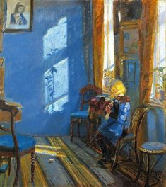 "Sunlight in the Blue Room"" / ""Helga Ancher Knitting in her Grandmother's Room"" 1891 painted by her mother: Anna Ancher (Danish 1859 - 1935) Skagen, Anna, Monet, Cheap Rustic Decor, Mary Cassatt, Illustration Art, Illustrations, Home Remodeling Diy, Pierre Auguste Renoir"