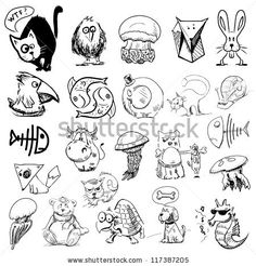 Animals sketch illustration. Big vector collection of characters - stock vector