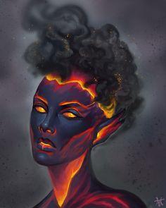 I am a woman in flames 💛🖤💛🖤 - inspitation fantasy - Fantastical Creatures Fantasy Kunst, Fantasy Art, Dark Fantasy, Character Portraits, Character Art, Home Bild, Arte Obscura, Art Africain, Character Design Inspiration