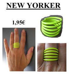 NEW YORKER SS12 Anillo amarillo flúor muelle  1,95€