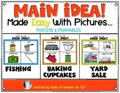 Main Idea {Made Easy with Pictures} For Kindergarten & First Grade Reading Teaching Main Idea, Help Teaching, Teaching Ideas, Comprehension Strategies, Reading Strategies, First Grade Lessons, Teacher Boards, First Grade Reading, Readers Workshop