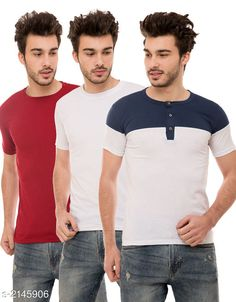 Tshirts Trendy Men's Cotton Blend Tshirts Combo Fabric: Cotton Blend Sleeves: Half Sleeves Are Included Size: S M L XL (Refer Size Chart)  Length: Refer Size Chart Fit: Regular Fit Type: Stitched Description: It Has 3 Pieces of Men's T-Shirts Pattern: Solid Country of Origin: India Sizes Available: S, M, L, XL   Catalog Rating: ★4 (500)  Catalog Name: Stylish Trendy Men's Cotton Blend Tshirts Combo Vol 9 CatalogID_284649 C70-SC1205 Code: 925-2145906-5631