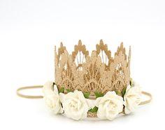 Listo para barco || Mini GOLD ROSE Siena Marfil flores || diadema corona de encaje incluida || apoyo de la fotografía