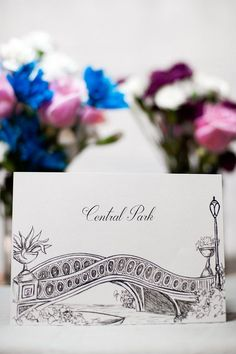 Tables themed with different places the couple has traveled