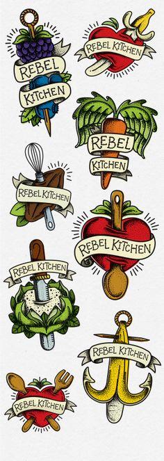Rebel Kitchen tattoo inspired logos: 1 on Behance