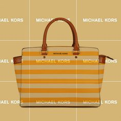 Michael Kors Selma Striped Large Yellow White Satchels Tell Us To Cherish Today, For Tomorrow Is Unknown Forever. Love Life, Love Michael Kors Selma Striped Large Yellow White Satchels.Just Enjoy The Beautiful Life!