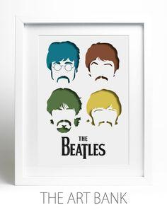 Enmarcado papel de corte de los Beatles, en capas de papel de corte, Fab cuatro, cuatro colores del ventilador del arte