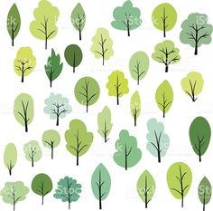 set of different trees royalty-free stock vector art