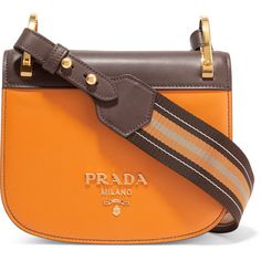 Prada Pionnière canvas-trimmed two-tone leather shoulder bag (7.595 RON) ❤ liked on Polyvore featuring bags, handbags, shoulder bags, mustard, prada handbags, leather handbags, shoulder handbags, brown leather shoulder bag and two tone leather handbags