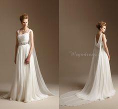 Grecian Style Wedding Dress with Watteau Train Long Chiffon Summer Beach Bridal Dress Greek Wedding Gowns 2015 Vestidos de Novia