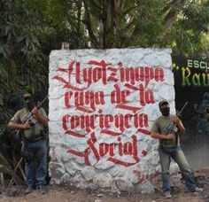"grafito (via @mexicanarchist: '#Ayotzinapa cradle of social consciousness'){#autodefensas article: ""So, no police forces, because they're working with the very same organized crime that terrorizes your community. For example, comunitarios from Ocotito detained 18 members of a cartel carrying a cache of assorted weapons, among the detained, a state police officer. Keeping that in mind, the question then is, how do you secure yourself and your neighbors? Communities select who joins the bands…"
