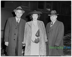 Miss Venus Ramey, native Kentuckian and Miss America for 1944, pictured during brief stop in Lexington.  Left, Miss Ramey's father, J.C. Ramey, of Waynesburg.  Right, Miss Ramey's brother, J.W. Ramey. Ramey was born September 26, 1924 in Ashland, Ky. She left the state to work for the war effort in Washington, DC, and won the Miss District of Columbia pageant and then became Miss America in 1944. She was the first red-haired contestant to win the title. In 2007, on her farm in Lincoln…