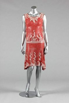 Coral-pink muslin beaded flapper dress, late 1920s