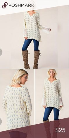 🛇FINAL PRICE🚫❤HOST PICK❤Lace Sleeve Tunic Top ❤ HOST PICK ❤Lace sleeve tunic top. True to size. Tops