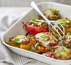 Pan-fry beef mince with onion, garlic, tomatoes and oregano and stuff into roasted bell peppers - top with melted mozzarella cheese