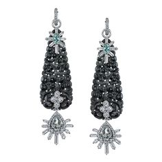 Platinum and diamond black jade earrings with Alexandrite and Green Beryl