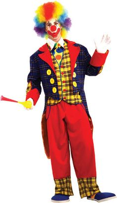 Men's Costume: Checkers the Clown-One Size