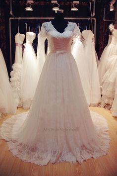 A-line V-neckline Short Sleeves Lace Wedding Dress