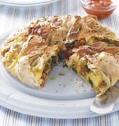Bombay Potato and Spinach Pies - These spicy filo pies are ideal for a lunch with salad or as part of a buffet.