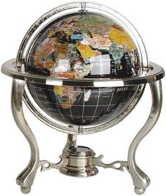 Gemstone Globes Desk 9 Inch Diameter Globe With Black Onyx And Mother Of