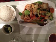 Mekong shrimp and veggies in garlic sauce with jasmine rice - Sandusky, Ohio.
