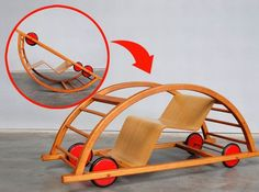 Vintage wooden toy car transforms into a rocking chair