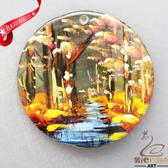 HAND PAINTED AUTUMAN SCENERY NATURAL MOP MOTHER OF PEARL SHELL PENDANT ZL3005917 #ZL #PENDANT
