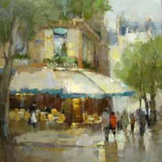 "Barbara Flowers, ""Les Deux Magots"", Oil on Canvas, 40x40 - Anne Irwin Fine Art"