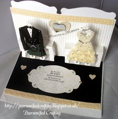 Look how Ruth converted the Tuxedo template into a kilt! Brilliant! Stampin' Up! Sizzix, Pop 'n Cuts, Dress Form, Wedding Card