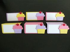 Cupcake Food Tents Buffet Labels / Place Cards Set of 6 Birthday Party Shower Pink Yellow Purple Lavender Lilac Decorations Decor