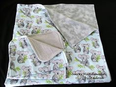 Koala Flannel Baby Blanket Set by SavvyHandmade on Etsy