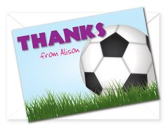 Soccer Birthday Party Thank You Card by littlecelebrations on Etsy, $8.45