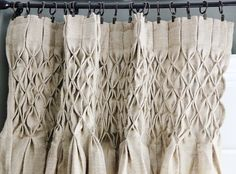 smocked jute curtains