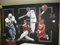 Sports theme, for a Childs room.   www.dwcustommurals.com, Dream Walls Murals and Faux Finish, By Artist Alfredo Montenegro