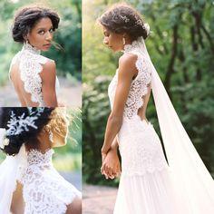 Vintage Lace Beach Chiffon Wedding Dresses 2015 Summer High Neck Backless  White Mermiad Long Bridal Gowns Cheap Vestido De Novia Dress Gowns  Glamorous ... 7cd753d69315