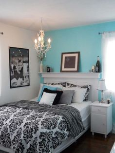 black white and tiffany blue bedding