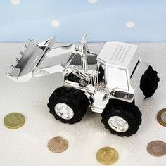 This silver plated Digger Money Box can be personalised on the back with any message over 4 lines and up to 20 characters per line.Ideal for Birthdays, Christening Gifts, Thank You Presents, Christmas. Childrens Money Box, Kids Money Box, Childrens Gifts, Personalised Money Box, Personalized Gifts, Birthday Gifts For Kids, Gifts For Boys, Christmas Birthday, Baby Birthday