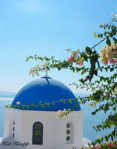 A blue church in Oia, Santorini