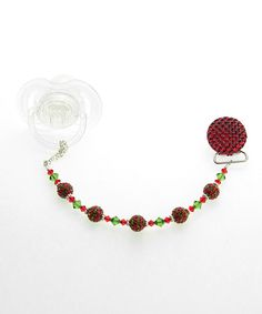 Take a look at this Red & Green Swarovski Crystal Bead Quilted Pacifier Clip on zulily today!