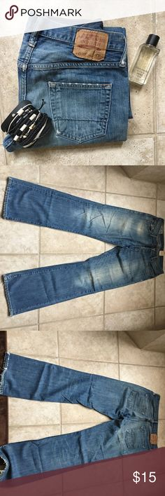 Men's Abercrombie jeans Medium wash distressed jeans. Good used condition Abercrombie & Fitch Jeans Boot Cut