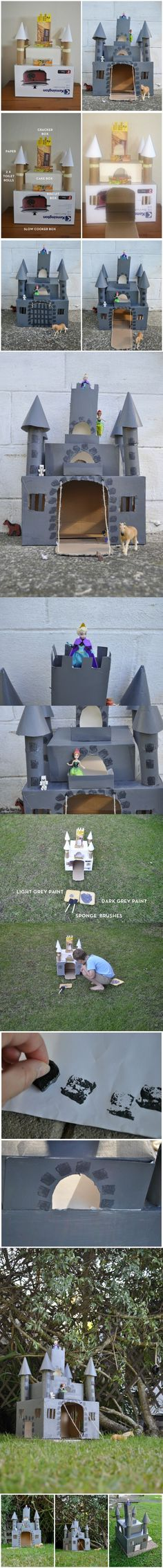 Cardboard castle with a working drawbridge! Cardboard Crafts, Paper Crafts, Cardboard Castle, Diy For Kids, Crafts For Kids, School Projects, Diy Projects, Castle Project, Diy And Crafts