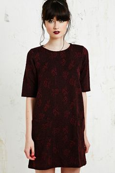 Shop Cooperative Textured Rose Dress at Urban Outfitters today. Fashion 101, Fashion Photo, Fashion Outfits, Dark Hair Pale Skin, Urban Outfitters, Future Clothes, Jacquard Dress, Urban Dresses, Rose Dress