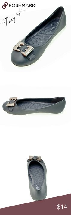 Women Ballerina 'Giselle' Buckle Flats, b1307 Gray Brand new Tory Klein woman flats in PU leather with a metal belt like buckle in the front. Lightly cushioned sole, very comfortable. Larger sizes run small. Size 8 measures 9.5 inches in length, all half sizes are in 1/4 inch increments of each other. Tory K  Shoes Flats & Loafers
