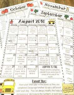 Who's Who and Who's New: Homework Calendars