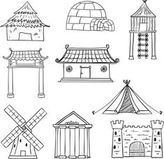 Different Types Of Houses In Black And White Drawing
